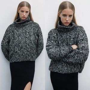 Zara CABLE KNIT SWEATER High Collar TURTLE NECK BN